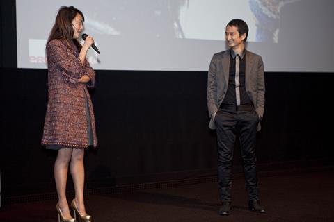 Actress Rinko Kikuchi and director Tran Anh Hung introduce the screening at BAFTA.